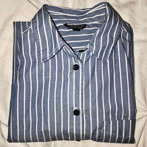 Blue long sleeve dress shirt with collar & pocket